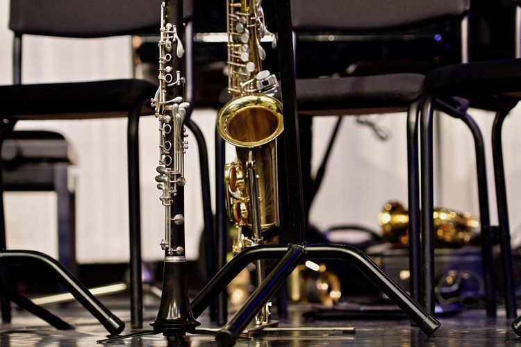 Jazz big band Big Band Jazz Klarinette Arts Culture And Entertainment Close-up Day Focus On Foreground Gold Colored Indoors  Jazz Music Music Musical Instrument No People Saxophone Wind Instrument
