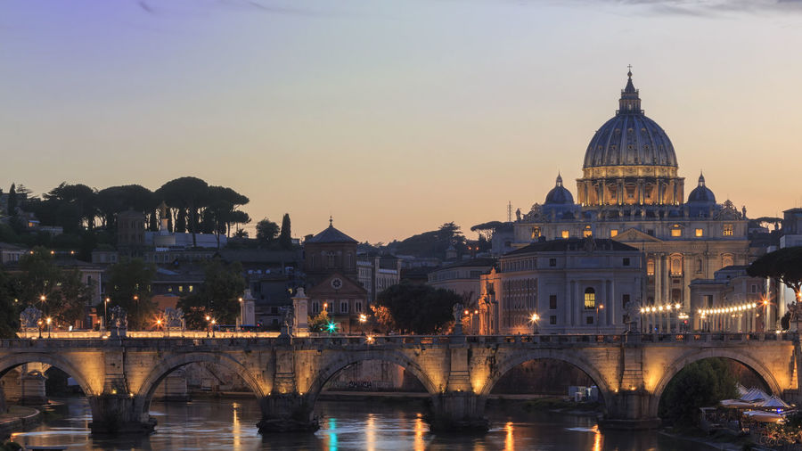 St Peters Basilica Over Tiber River During Sunset In City