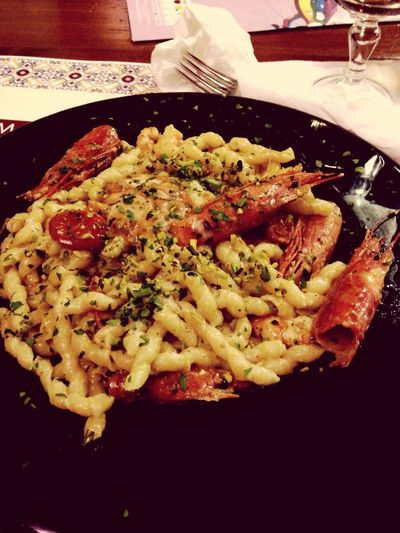 This is my Sicily ? pasta with red shrimps, pistachio and sea urchins ? delicious!