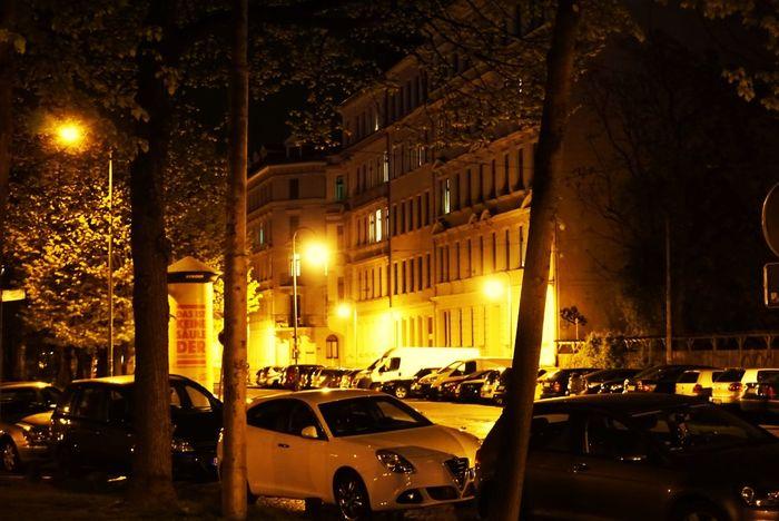 Leipzig Waldstraßenviertel Car Night Illuminated Outdoors City No People