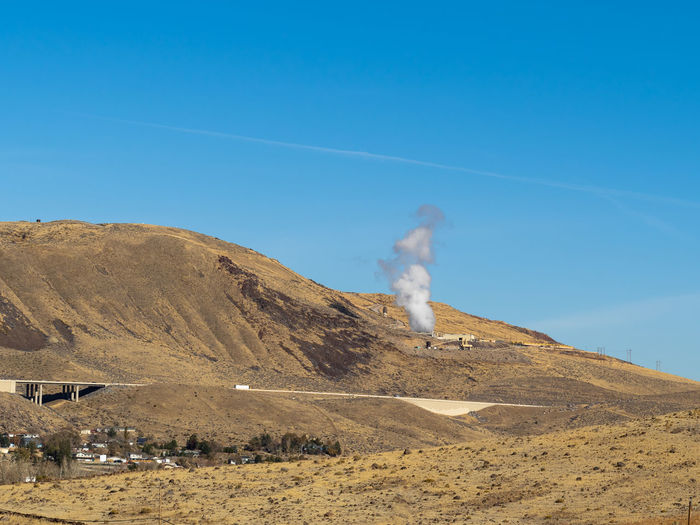 Steam rising from a geothermal plant.