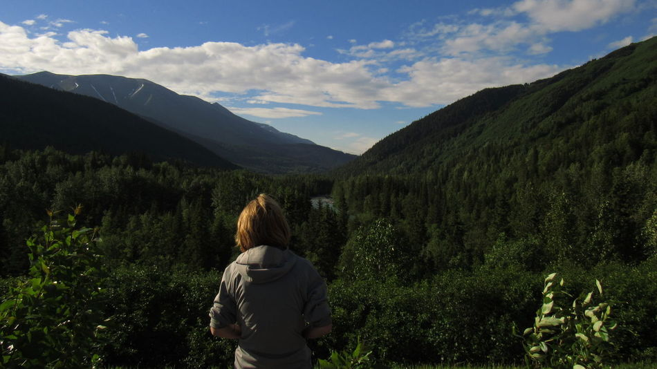 Taking in the views of Canyon Creek Alaska Beauty In Nature Landscape Landscape_Collection Leisure Activity Mountain Nature Nature Photography One Person Outdoors Real People Rear View Scenics Tranquility