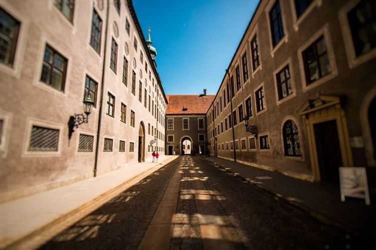 Street Building Exterior Travel Destinations City Old Town Cityscape Architecture Built Structure Outdoors Day Sky Clear Sky Urban Skyline No People Munich, Germany Munich Odeonsplatz Shadows & Lights Light And Shadow Opposites