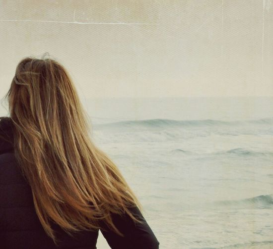 That's Me Watching The Sea Ocean Sea And Sky Seainwinter Back Longhair Passion For Edits Moody Sky Mood Captures Atmospheric Mood Woman Woman Portrait EyeEm Best Shots Quiet Moments Quiet Thoughts Quiet Q Let Your Hair Down