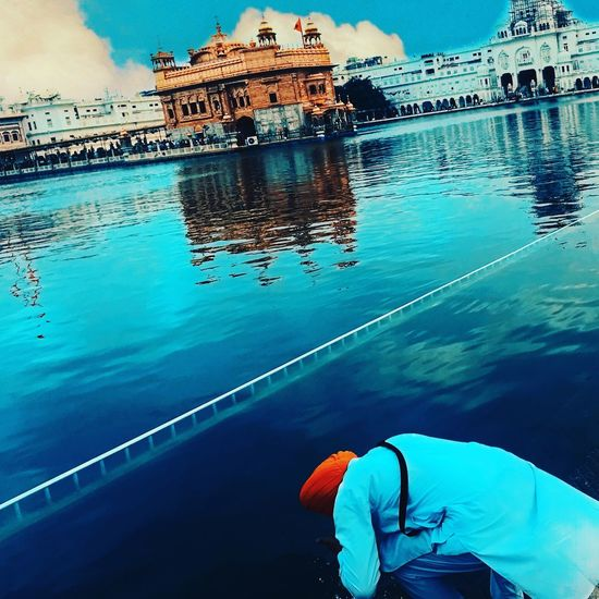 iPhone7 photography Blessing Waheguru Golden Temple, Amritsar India Water Reflection Nature Sea Real People Day Lifestyles