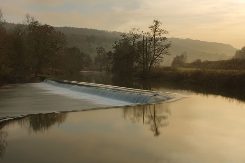 Claverton Warleigh Weir Somerset Long Exposure Tree Water Nature Tranquil Scene Beauty In Nature Scenics Tranquility No People Sunset Reflection Lake Outdoors