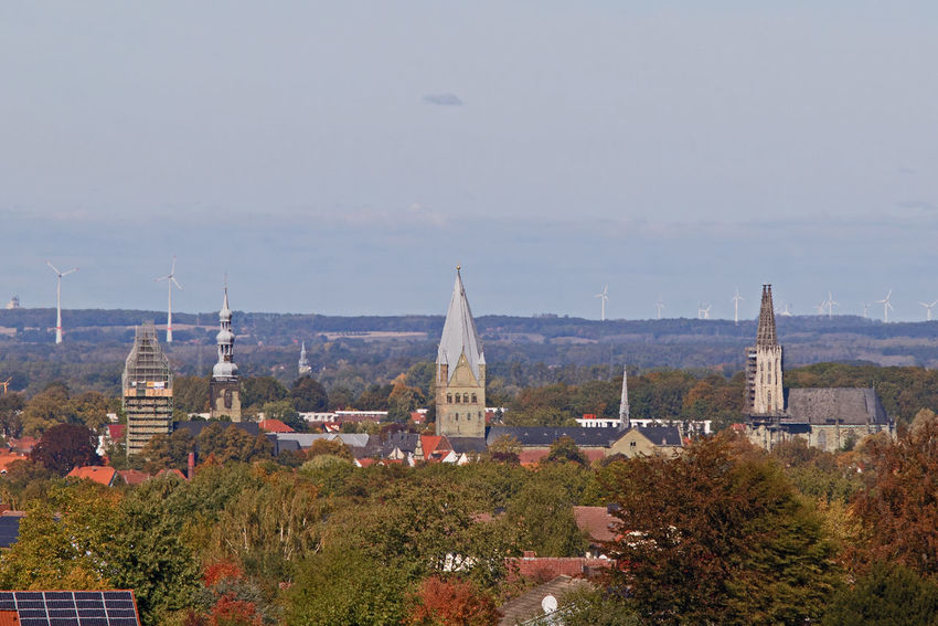 Look at my city Church Old Town Perspective Skyline Spires View Vista Architecture Building Building Exterior Chance City Cityscape Cloudless Day Germany Horizon Nrw Germany Outlook, Prospect, Panorama, Vista, Scene, Aspect, Perspective, Spectacle, Sight; Scenery, Landscape Prospect Religion Sandstone Sky Travel Turbines