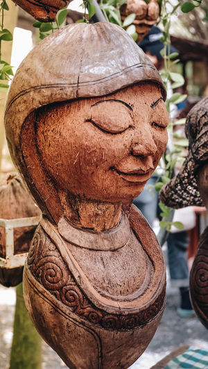Coconut Art And Craft Brown Carved Carved Wood Close-up Craft Focus On Foreground Hand Made Outdoors Representation