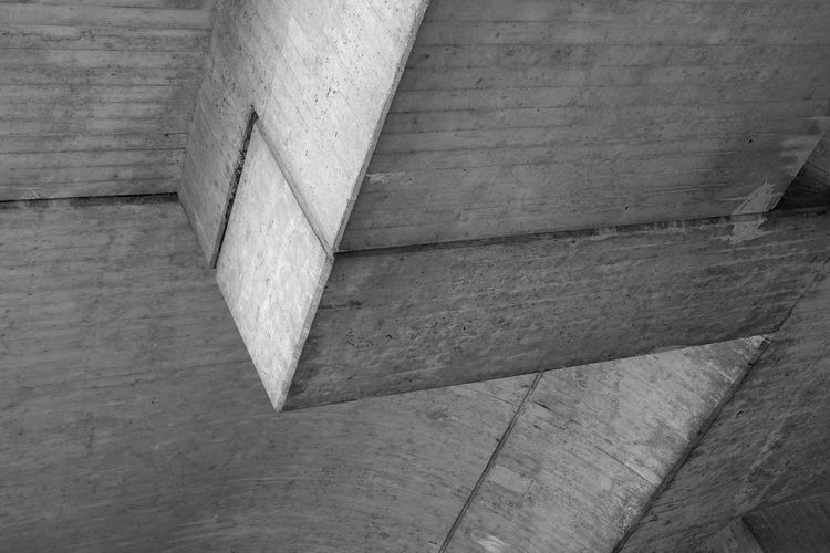 High angle view of concrete wall in building