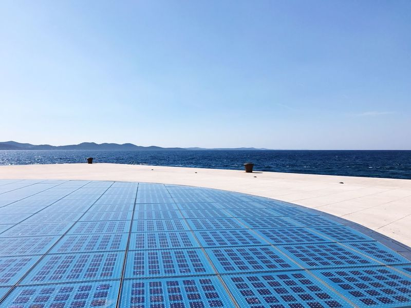 EyeEm Selects 💙 Sea Clear Sky Water Scenics Nature Copy Space Blue Beauty In Nature Tranquil Scene Day Tranquility Sky Outdoors Horizon Over Water Salt Flat Beach Real People One Person Salt Basin Salt - Mineral Zadar,Croatia Zadar