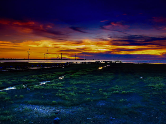 Awe Beauty In Nature Cloud - Sky Grass Landscape Nature Night No People Outdoors Scenics Sunset Tree Water