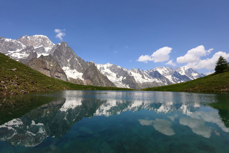 Idyllic shot of mountains against sky reflection in lake