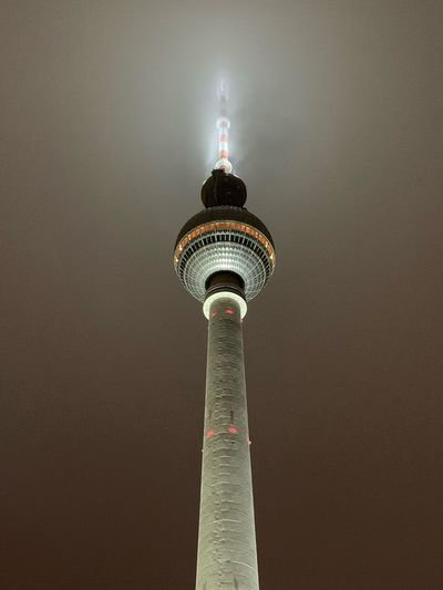 Berlin Fernsehturm Architecture Tower Built Structure Communication Building Exterior Low Angle View Travel Destinations Sky Building City No People Illuminated Skyscraper Night Outdoors