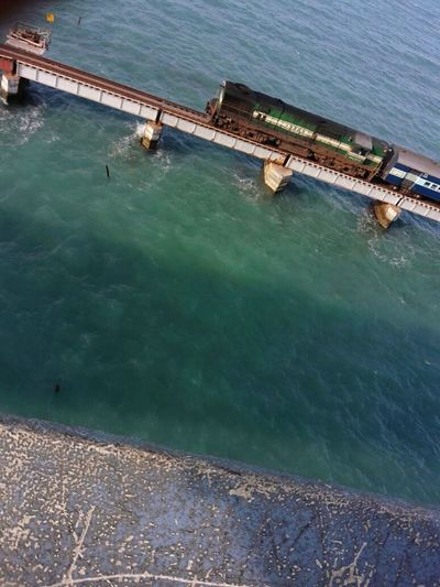 Extreme Railways over Bridge - Man Made Structure Water Dangerous Ocean View No Protection Marvel Blue Indian Ocean