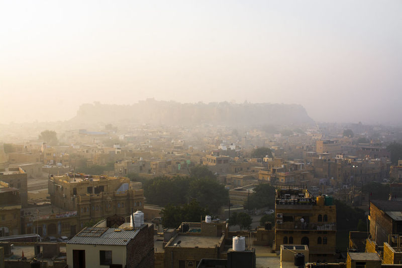 Architecture Building Exterior Built Structure City Fog Building Cityscape Sky No People Nature Residential District Outdoors High Angle View Day House Copy Space Roof Smog TOWNSCAPE Jaisalmer Fort Jaisalmer India