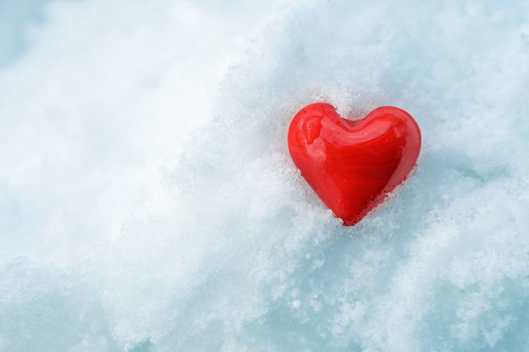 Close-up of frozen heart shape ice