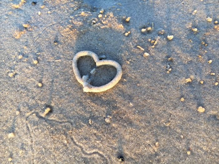 Wattwurmherz Wattwurmhäufchen Ebbe Und Flut Sand High Angle View Beach Land Day No People Nature Heart Shape Positive Emotion Love Beauty In Nature