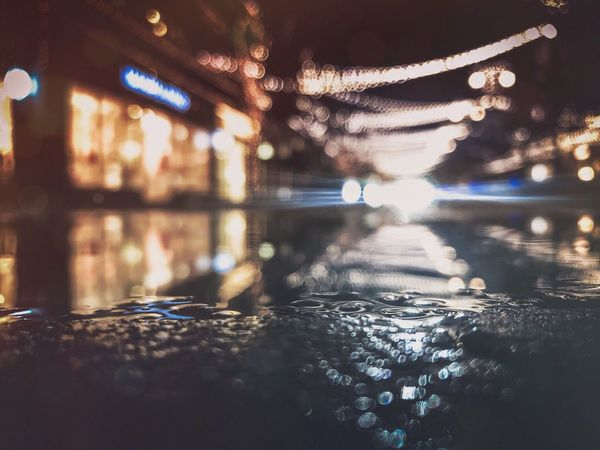 Bokeh Shopping Puddle Pavement Lights Headlights Mood Blur No Person No People Water Bokeh Photography Bokeh Water Reflection Illuminated Waterfront No People Bridge - Man Made Structure Outdoors Night Close-up Nature Architecture Sky
