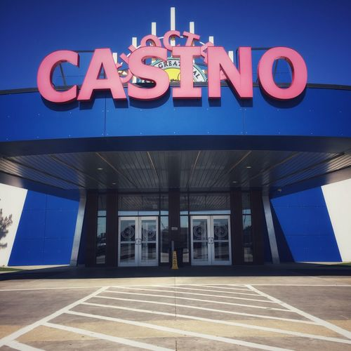 Casino by Morning Text Communication Western Script Sign Architecture Building Exterior Built Structure Blue No People Day
