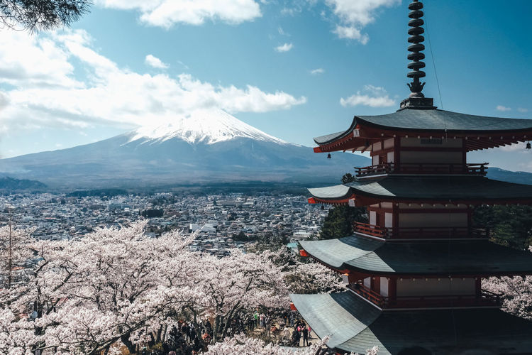 Sakura Architecture Sky Built Structure Mountain Building Exterior Cloud - Sky Snow Cold Temperature Building Winter Nature Beauty In Nature No People Belief Religion Travel Destinations Place Of Worship Spirituality Snowcapped Mountain Outdoors Mountain Peak Sakura Sakura Blossom Japan Japan Photography It's About The Journey