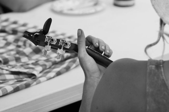 Music Black And White Brass Band California Candid Close-up Day Holding Human Body Part Human Finger Human Hand Indoors  One Person People Real People Ukulele Woman