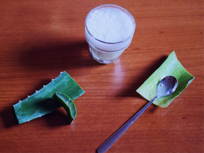 Aloe Vera juice Table Food And Drink Drink Indoors  Refreshment Drinking Glass Freshness High Angle View Close-up Drinking Straw Detoxification Plant Leaf Aloe