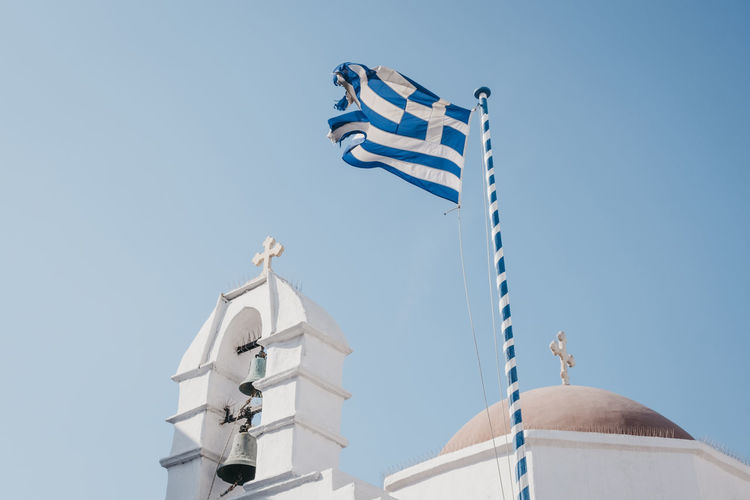 Low angle view of a greek flag on a traditional  whitewash building against clear blue sky