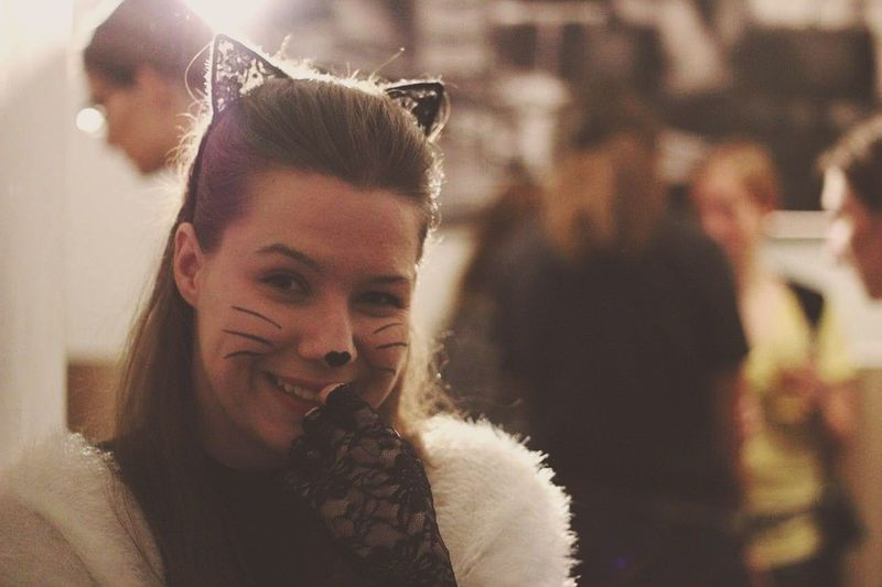 Halloween Cat Women Only Women Beauty Beautiful People Beautiful Woman Human Lifestyle Indoors  Samhain Smile Young Women Young One Person One Woman Only One Young Woman Only People Portrait Close-up Black Cat Second Acts