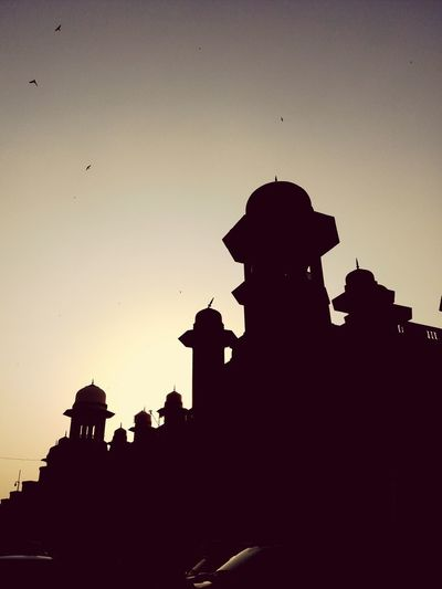 Heritage Building Building Story Architecture Samsungphotography SamsunggalaxyA9Pro Shadows & Lights Lucknow👌City Railway Station Heritage Building Artistic City Tree Bird Silhouette Sunset Sky Flock Of Birds Avian Spread Wings Bird Of Prey
