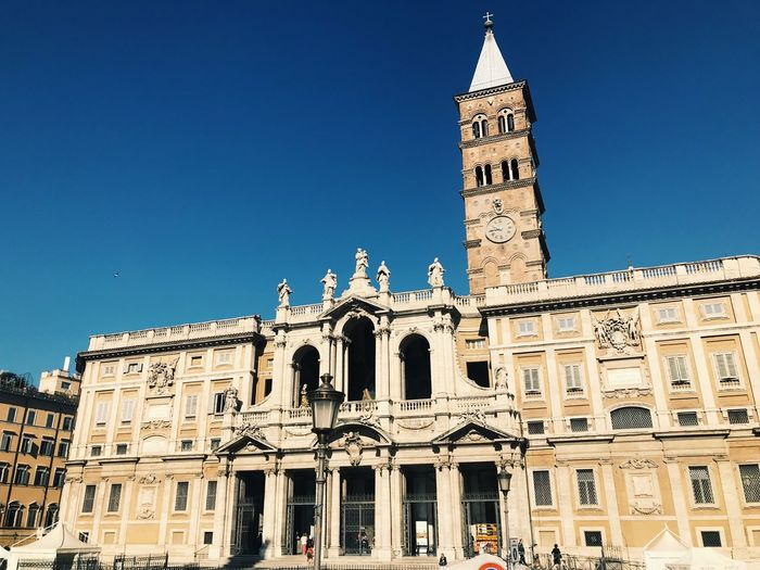 Italy Rome Roma Basilica Di Santa Maria Maggiore Basilica Santa Maria Maggiore Building Exterior Built Structure Architecture Building Sky Low Angle View Clear Sky Blue Travel Destinations Tower The Past Nature Travel No People City History Place Of Worship Day Tourism Outdoors