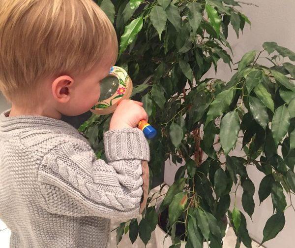 Boy looking at plant with magnifying glass