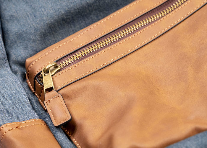 Close-up of leather over white background