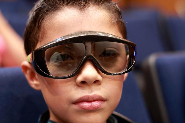 Portrait of boy wearing 3-d glasses