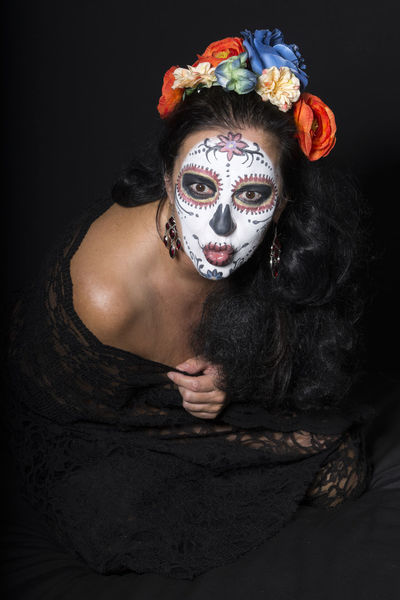 Makeup Adult Black Background Costume Day Face Paint Facepaint Facepainting Flower Halloween Headdress Indoors  Looking At Camera Los Muertos Makeupartist One Person People Portrait Real People That's Me! Thats Me ♥ Women Young Adult Helloween Maskerade This Is Queer Visual Creativity