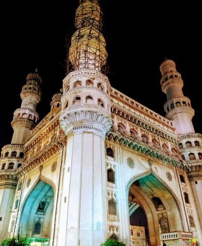 Low Angle View Religion Architecture Place Of Worship Built Structure Spirituality Travel Destinations No People Allah ❤❤ Photographer Night History Building Exterior Outdoors Sky Charminar The Pride Of Hyderabad Mekkah Masjid Hyderabad,India Architecture Illuminated City Dome Low Angle View Travel Photography Travelling
