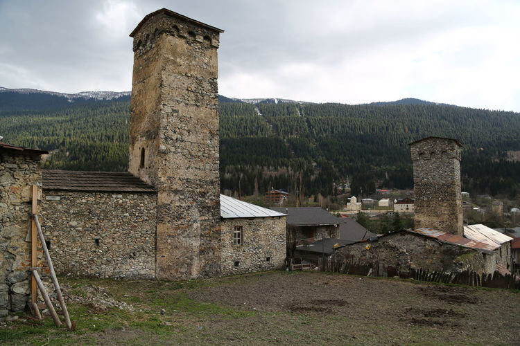 Architecture Built Structure Sky Building Exterior Mountain History The Past Nature Cloud - Sky Building Day Old Ruin Old No People Ancient Damaged Land Outdoors Ancient Civilization Travel Destinations Deterioration Ruined Georgia Mestia/town In Svaneti/Georgia
