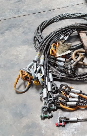 No People Indoors  Workshop Metal Chain Loop Metal Wire Heavyweight Ground Wire Sling Indusrial Wirerope Hoist Sling Softeyes Socket Steel Iron Day