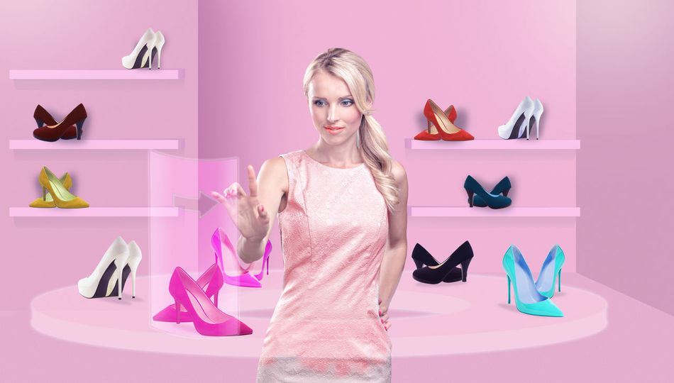 symbolic picture of the virtual shopping, a young woman choosing the lady shoes online Attractive, Background, Beautiful, Beauty, Business, Buy, Buying, Card, Commerce, Commerce, Computer, Concept, Consumer, Consumerism, Credit, Customer, Fashion, Fashionable, Female, Female, Footwear, Girl, High Heels, Home, Internet, Lady, Laptop, Lifesty Beautiful Woman Blond Hair Choice Consumerism Customer  Fashion Front View High Heels Indoors  Looking At Camera One Person One Woman Only One Young Woman Only Only Women Pink Color Portrait Retail  Shelf Shoe Smiling Store Variation Women Young Adult Young Women