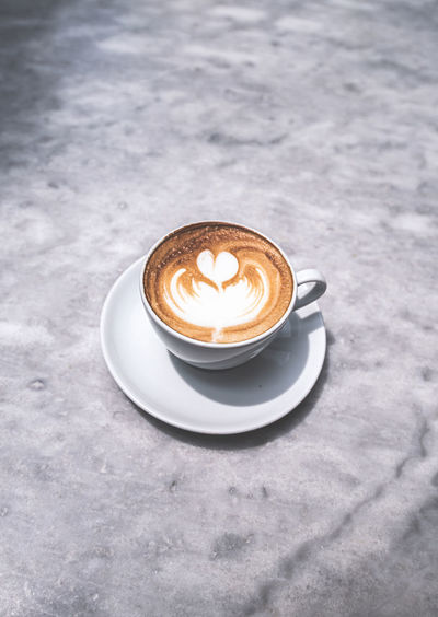 Background Black Breakfast Brown Cafe Caffeine Cappuccino Close Closeup Coffee Cup Dark Decoration Design Drink Espresso Flavor Foam Food Fresh Gourmet Hot Milk Morning Old Porcelain  Table Top View Vintage White Wood Wooden