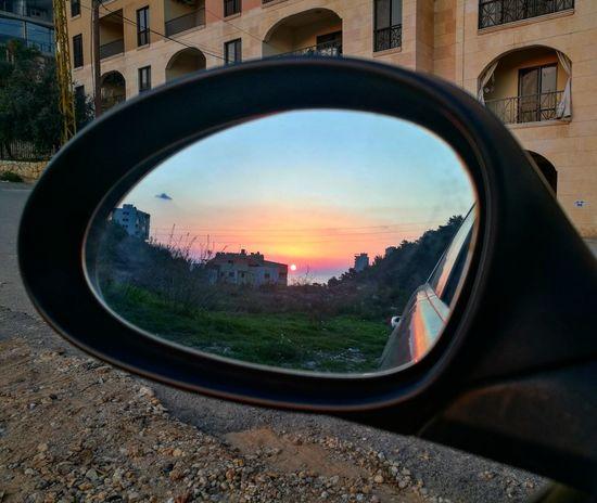 Sunset Dbayeh Car Mirror Home Lebanon Reflection Colors Sea