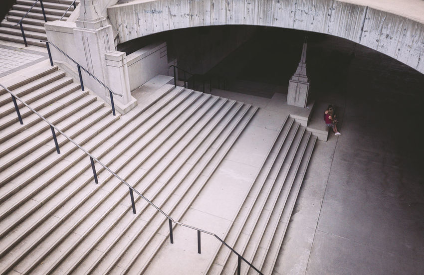 Architecture Bridge Built Structure Day Full Length High Angle View Leisure Activity Lifestyles One Man Only One Person Outdoors Real People Staircase Steps Steps And Staircases