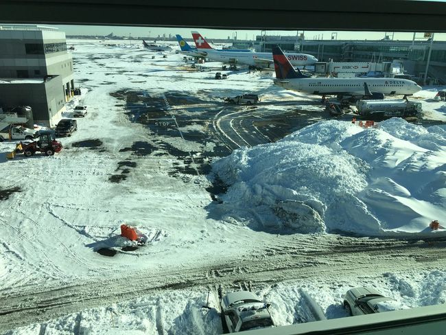 Air Plane Parking AirPlane ✈ Delta Airlines JFK Airport Run Way Snow Storm Swiss Airlines Transportation First Eyeem Photo
