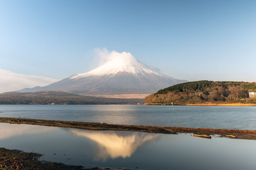 Mount Fuji ASIA Cloud Japan Japan Photography Japanese  Morning Morning Light Mount FuJi  Reflection Winter World Heritage Yamanashi Beauty In Nature Fuji Fuji Five Lakes Fujiyama Lake Lake Yamanaka Lakeside Mountain Nature Sky Snow Snowcapped Mountain