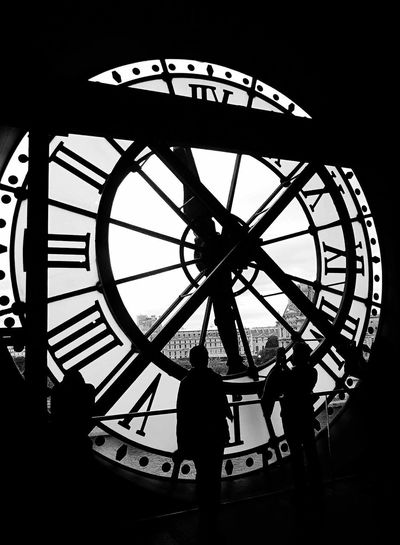 What time is it ? Museum D'Orsay France Paris Silhouette Time Clock Roman Numeral Men Real People Leisure Activity Lifestyles Day Minute Hand People Indoors  Clock Face