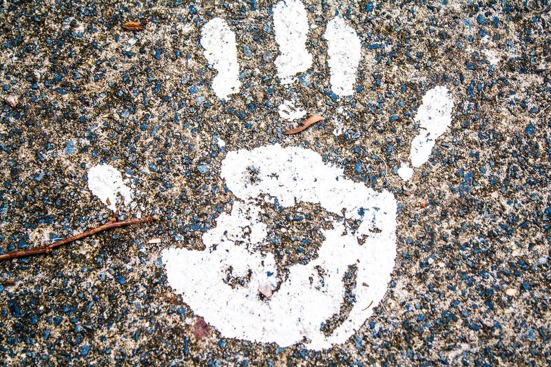 Hand Print Sidewalk Sidewalk Art Finger Paint White Paint Public Art In Passing Looking Down Pavement Human Interest Leaving A Mark Finger Print Fingerprint White Walking Trail Traces Of Life Make Your Mark