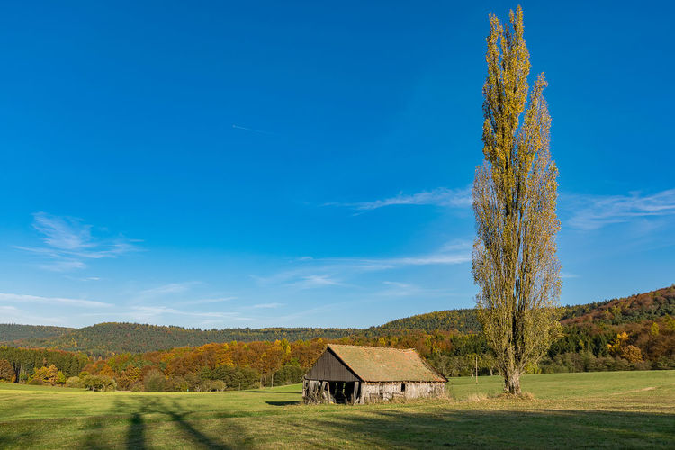 Autumn Autumn colors Barn Hessen Germany Odenwald  Reichelsheim/Odenwald Architecture Beauty In Nature Blue Building Exterior Built Structure Day Field Hessen Landscape Nature No People Outdoors Scenics Sky Tranquil Scene Tranquility Tree