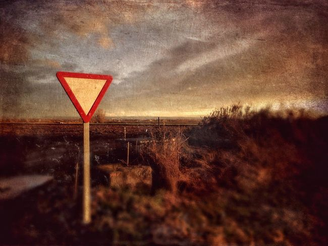 Sunset Road Sign No People Nature Sky Outdoors Beauty In Nature