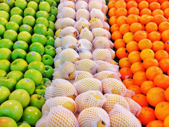 full frame shot of fruits for sale in market Abundance Arrangement Backgrounds Choice Close-up Day Food Food And Drink For Sale Freshness Fruit Full Frame Healthy Eating Large Group Of Objects Market No People Outdoors Retail  Stack Sweet Food