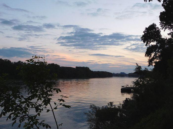 Evening Lights Sunset Szeged Tisza River
