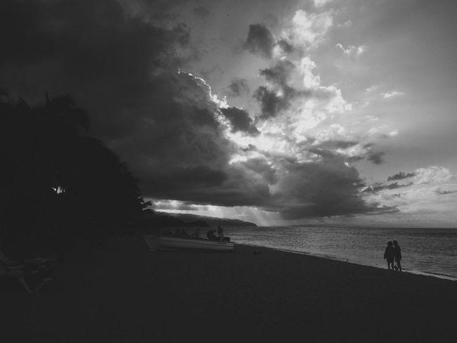 No explanation needed with this sky. Sky Clouds Beach Sea Blackandwhite